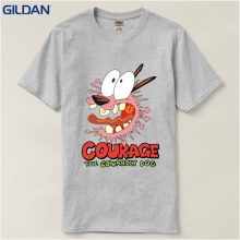 T Shirt Crew Neck Men Women Cartoon Network Courage The Cowardly Dog Courage Short-Sleeve Printed Tee
