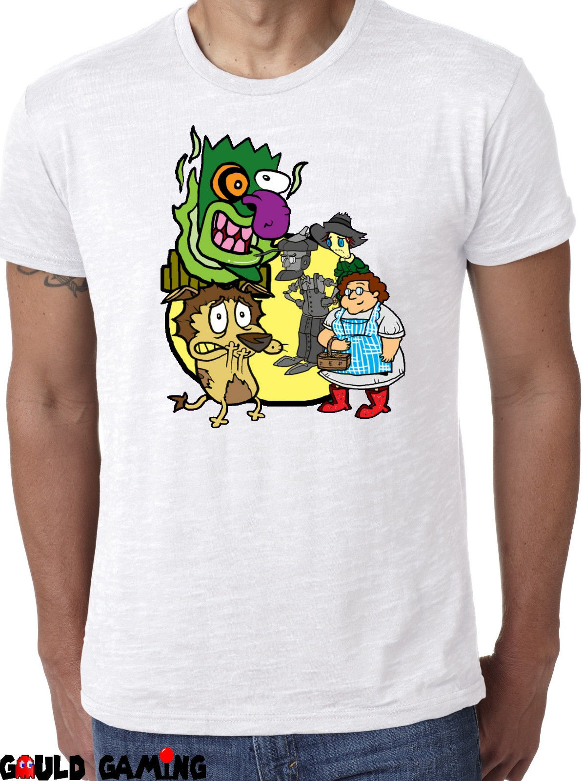 Courage the Cowardly Dog Wizard of Oz T-Shirt Unisex Cotton Funny New Short Sleeve Cotton T Shirts Man Clothing Letter Printing