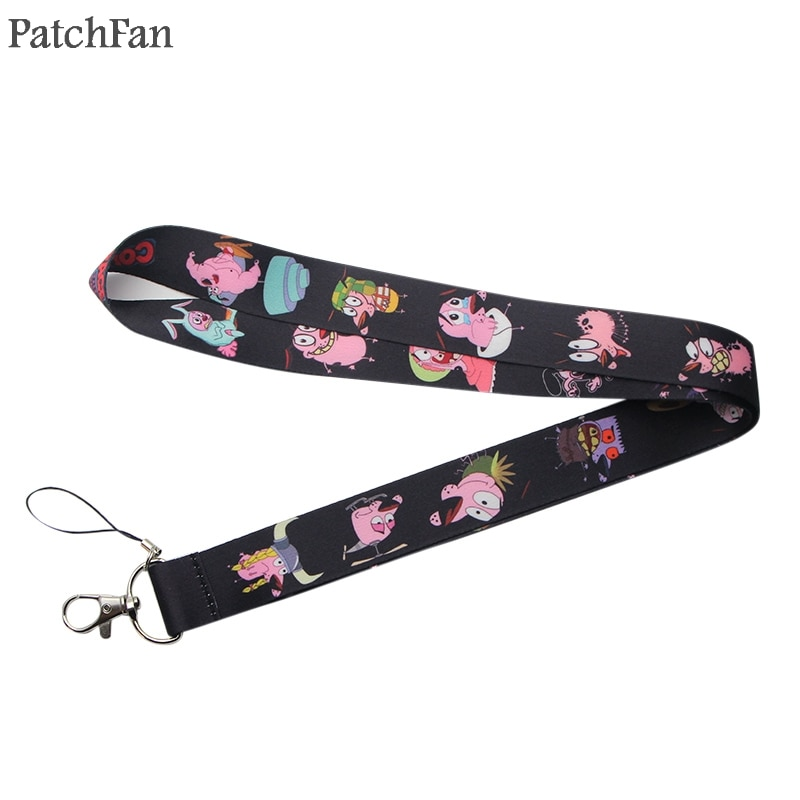 Patchfan Courage the cowardly dog cartoon keychain lanyard webbing ribbon neck strap para id badge phone holders necklace A1423