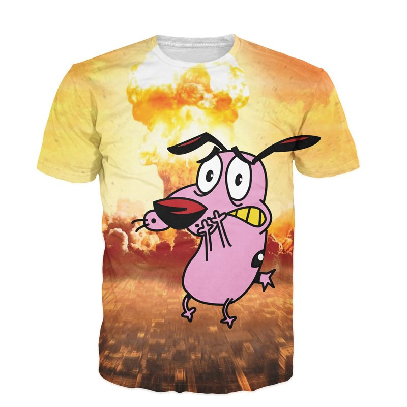 Summer Style Tops Camisetas 3D T Shirt Courage The Cowardly Dog T-Shirt Men Women Harajuku Fitness Tee Shirts Short Sleeve Tops