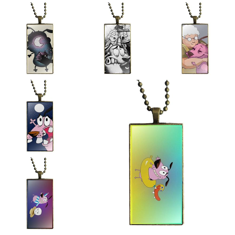 EJ Glaze Necklace Fashion Long Chain With Rectangle Necklace Jewelry For Women Wedding Courage The Cowardly Dog Phone