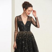 Black Lace Sequin Full Sleeves Plus Size Cocktail Dress