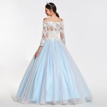 Blue and White Lace Ball Gown Dress Prom