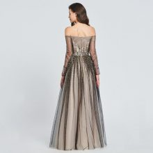 Elegant Champagne Sheer Black Shimmer Overlay Cocktail Dress